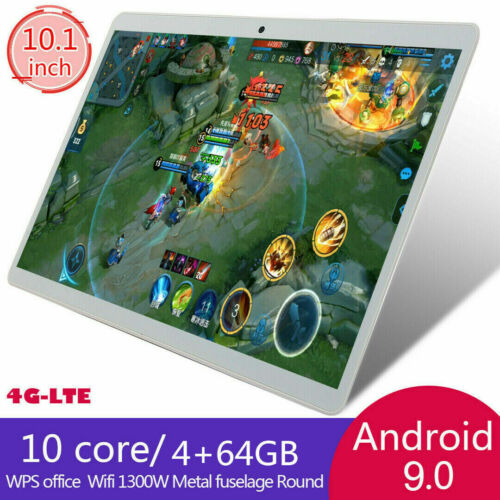 """10.1"""" 2.5d FHD 4G-LTE WIFI Tablet PC Android 9.0 4+64GB GPS Dual SIM Camera AU"""