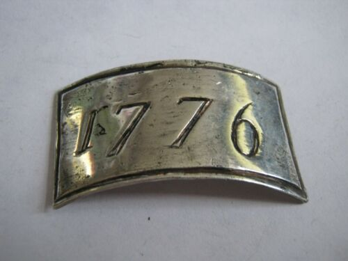 """Mystery Stering Silver """"1776"""" Plaque, Curved 1 7/8"""" Botte Tag Label Shape LQQK!"""