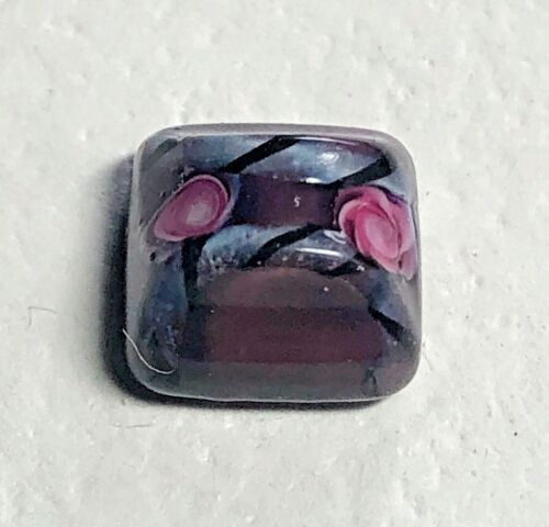 Antique Pink Rose & Black Candystripe Ribbon Overlay Glass Button