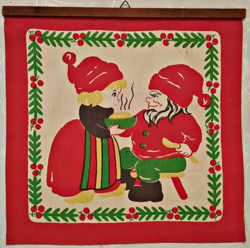 """VINTAGE MERRY CHRISTMAS DWARFS FAMILY RED SQUARE LINEN WALL TAPESTRY SIZE: 13"""""""