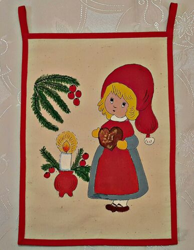 """VINTAGE CHRISTMAS ART  DWARFS HAND PAINTED RED BLUE WALL TAPESTRY SIZE: 9.5""""X13'"""