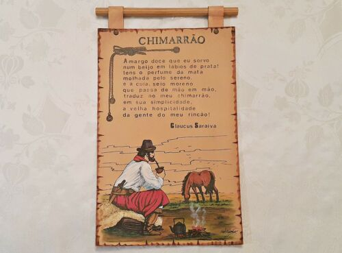 VINTAGE AUTHENTIC LATIN AMERICAN ART CHIMARRAO GENUINE LEATHER WALL TAPESTRY