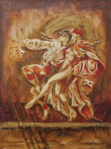 """JOY KIRTON SMITH """"TWO DANCERS"""" Hand Signed Silkscreen on Canvas with Blemishes"""