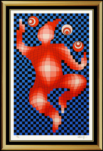 Victor Vasarely Color Screenprint Signed Contemporary Op Art Illusion Juggler