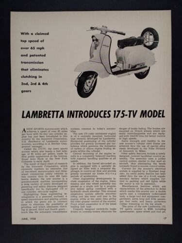 1958 Lambretta TV 175 Scooter vintage article clipping