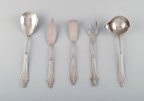 WMF, Germany. Five Art Deco Facker serving parts in plated silver. 1930's