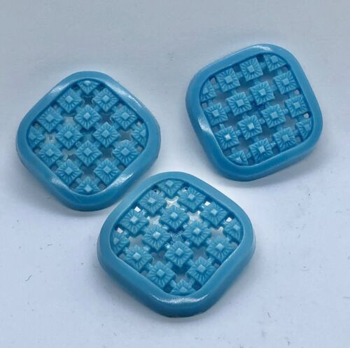 """3 Early Openwork Housedress Blue Plastic Square Buttons, 1 1/8"""""""
