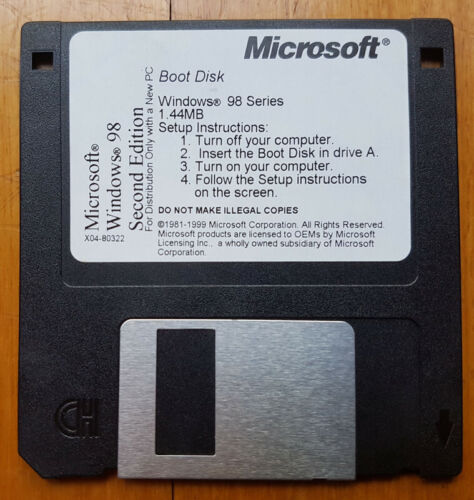 Microsoft Windows 98 SE Second Edition Boot Disk 3.5mm Floppy Diskette X04-80322