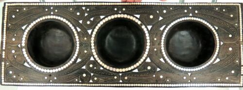 .STUNNING / HUGE / QUALITY / TROBRIAND ISLANDS 3 COMPARTMENT EBONY SERVING TRAY.