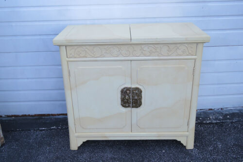 Henredon by Roy Coleman Lacquered Bar Buffet Faux Goat Skin 1623