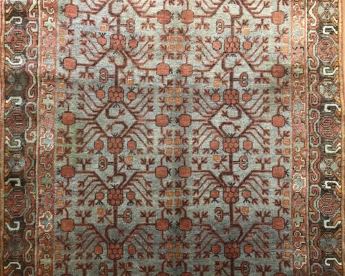 Special Samarkand - 1900s Antique Khotan Rug - East Turkestan Carpet 5.5 x 10.8