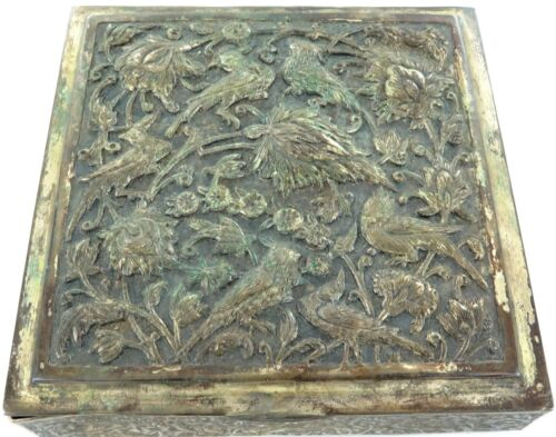 .VINTAGE IRAQI (DATED TO BASE) VERY DECORATIVE REPOUSSE SILVERPLATE BOX.
