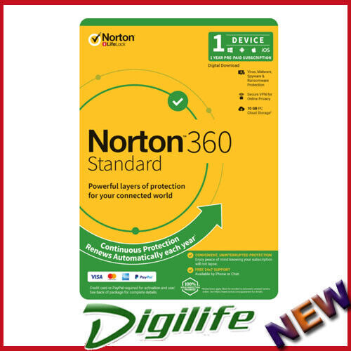 Norton 360 Standard OEM, 1 User, 1 Device, 12 Months, PC, MAC, Android, iOS,