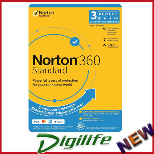 Norton 360 Standard OEM, 1 User, 3 Devices, 12 Months, PC, MAC, Android, iOS,