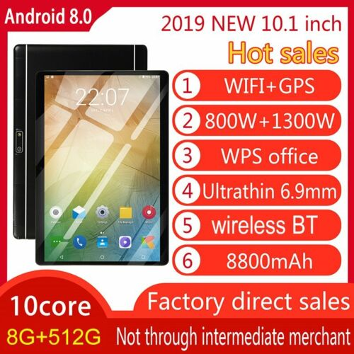 Android 8.0 Ten 10 Core 10.1 Inch HD Tablet Computer PC GPS Wifi Dual Camera