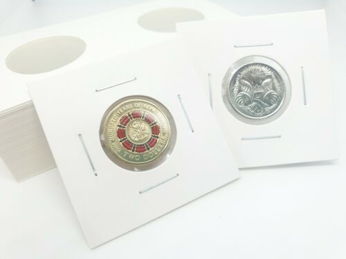 """50pcs CARDBOARD 2""""x 2"""" COIN HOLDERS 23mm SUIT $2,5 cent"""