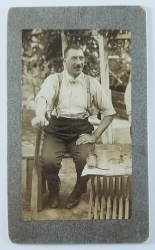 Vintage Snapshot Photo Man Outside Cut Crystal Glasses Ice Bucket On Table