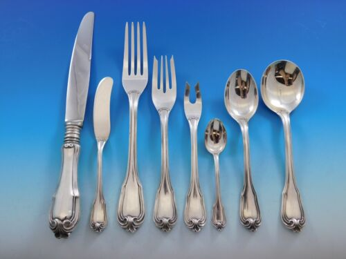 Borgia by Buccellati Italy Sterling Silver Dinner Flatware Set Service 32 pcs
