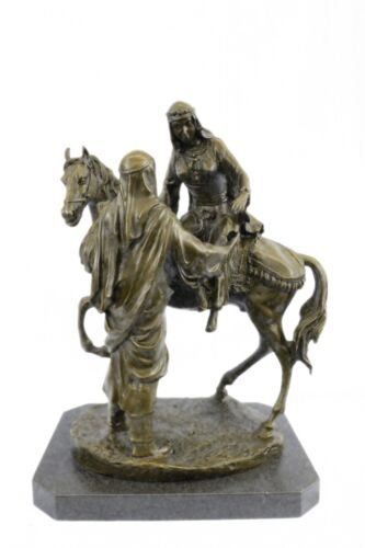 Handcrafted bronze sculpture SALE Bas Marble Wife His Helping Man Arabian Large