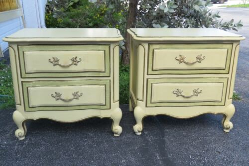 French Painted Tall Pair Nightstands Side Tables by Link Tylor 1643