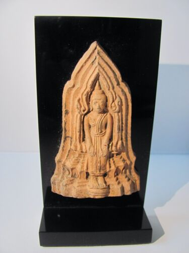 Antique Mounted Clay / Terracotta Buddhist Votive Tablet from Thailand