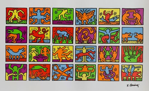 KEITH HARING RETROSPECTIVE Facsimile Signed Large Pop Art Lithograph France 1989