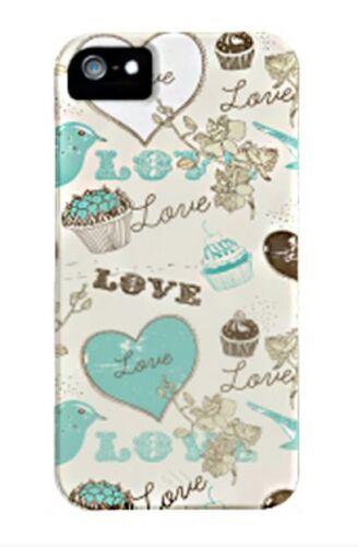 CASE-MATE IPHONE 5S 5 & SE BARELY THERE HARD CASE COVER HEARTS WHITE & BLUE BIRD