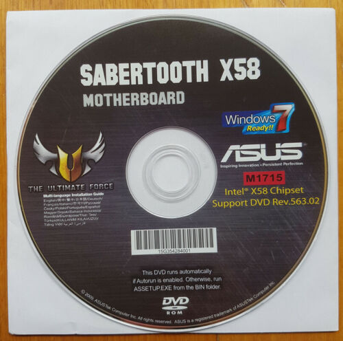 ASUS Sabertooth X58 Motherboard Drivers, Manual & Software DVD Disk