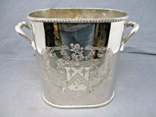 Antique English Silver Plated Armorial Oval Wine Cooler w/Interior Caddy