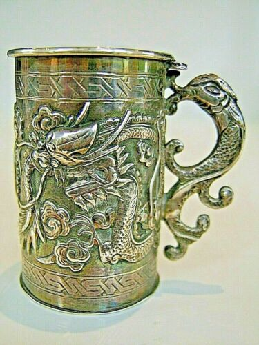 👍19TH CENTURY CHINA CHINESE STERLING SILVER DRAGON TANKARD JUG CUP+ HALLMARK 纯银