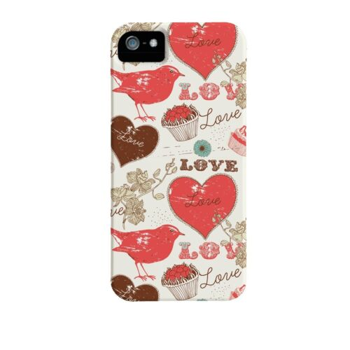 Case Mate iPhone 5S 5 SE Barely There Hard case Cover White Red Bird Love Hearts