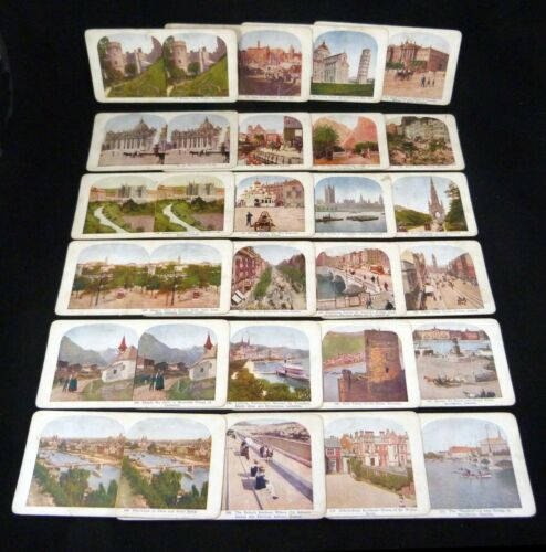 21 American Cities & Landscapes Stereoviews Colored Lithos Set (4 missing)