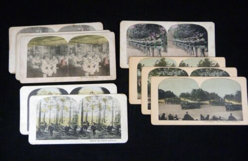 9 Military Stereoviews Hand-Colored Lithos Navy Infantry WWI Arlington Cavalry