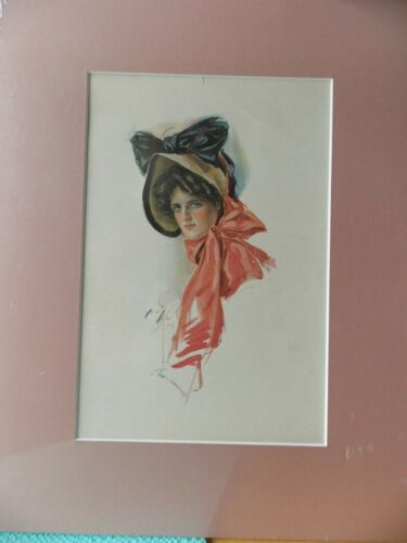 Harrison Fisher Print Early 1900's Book Plate Matted & Shrink Wrapped