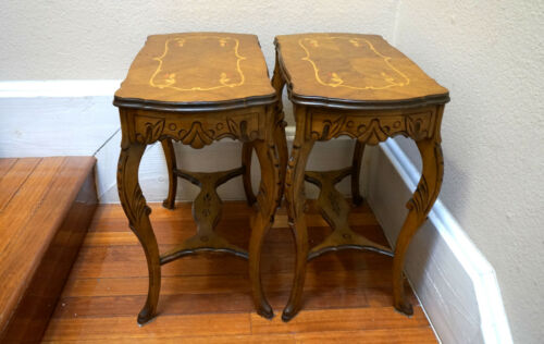 Continental Rococo Inlaid Marquetry Veneered Walnut Top Side Tables - A Pait