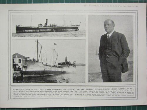1915 WWI WW1 Estampado ~ Capitán J. W Campana Gallant Skipper Hundido Alston &Otros - 13981