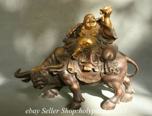 "13.6"" Old China Copper Gilt Happy Laugh Maitreya Buddha Ride Cattle Statue"