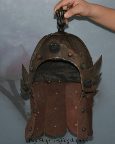 """10"""" Old Chinese Copper leather Dynasty Palace General soldier helmet casque"""