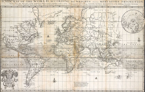"""1705 Map of the World According To Wrights Mercators Projection Print 11""""x16"""""""