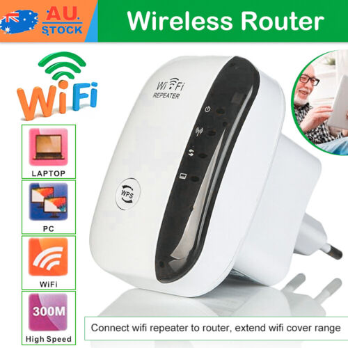 300Mbps WiFi Repeater Wireless Signal Extender Booster Range Router White AUS