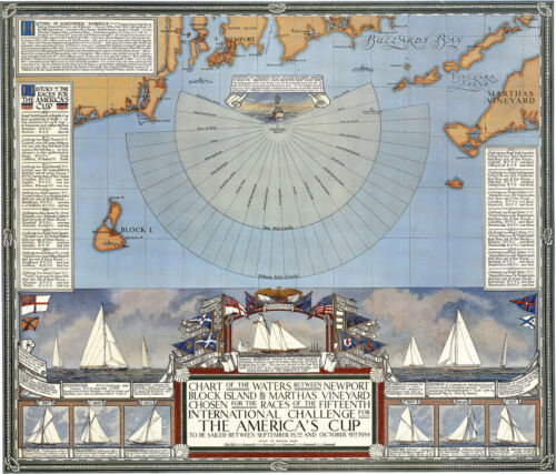 "1934 Map 15th International Challenge America's Cup Sailing Gifts 11""x13"" Poster"