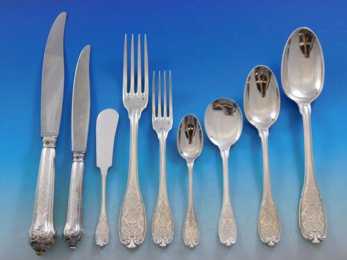Elysee by Puiforcat French Sterling Silver Flatware Set Dinner Service 95 pieces