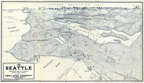 """1921 Map Aerial Birdseye View of Seattle Vintage Historical Wall Poster 9""""x16"""""""