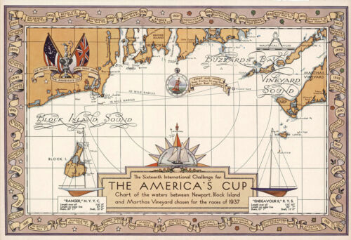 """1937 Pictorial Map The 16th International Challenge America's Cup Poster 11""""x16"""""""