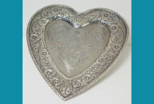 Repoussed Hand engraved sterling silver PIN TRAY  by Howard HEART SHAPE no mono