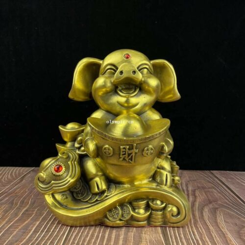 9 inch brass copper home feng shui decorate wealth animal RUYI pig statue