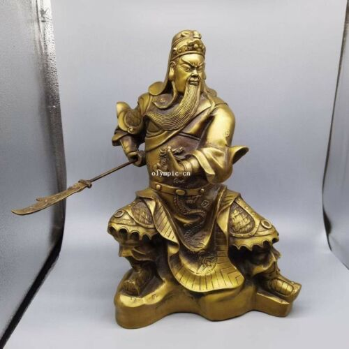 15 inch brass copper folk home feng shui the Military God of Wealth Guan Gong