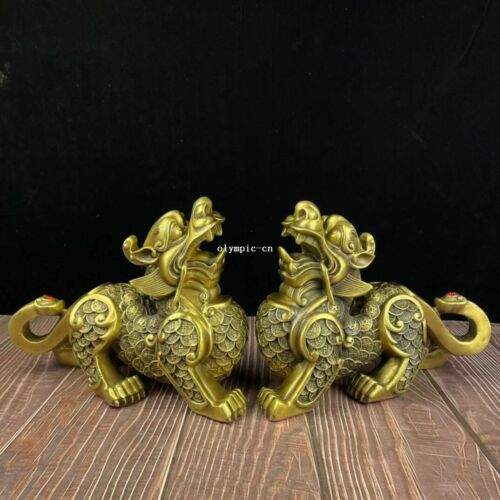 10 inch brass home feng shui decorate pair fortune wealth dragon unicorn statue