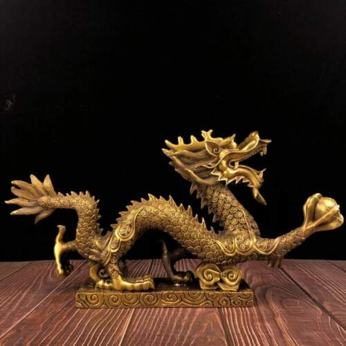 20 inch brass copper office home feng shui decorate wealth animal dragon statue