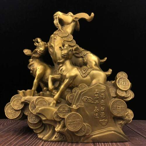 15 inch brass copper home feng shui decorate treasure wealth animal three sheep